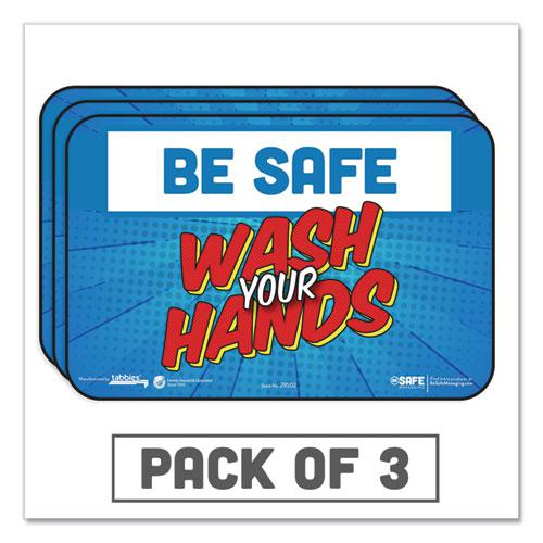 """BeSafe Messaging Education Wall Signs, 9 x 6,  """"Be Safe, Wash Your Hands"""", 3/Pack. Picture 1"""