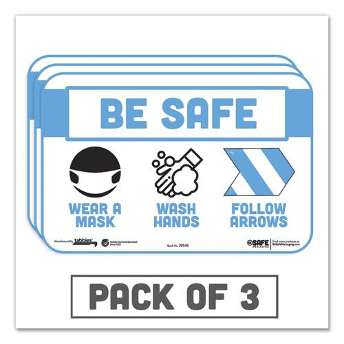 "BeSafe Messaging Education Wall Signs, 9 x 6,  ""Be Safe, Wear a Mask, Wash Your Hands, Follow the Arrows"", 3/Pack. Picture 1"