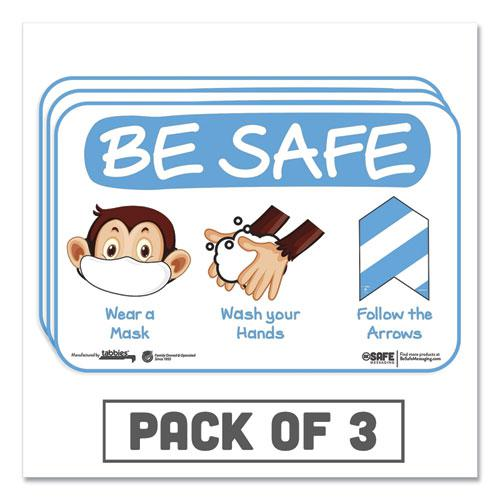 """BeSafe Messaging Education Wall Signs, 9 x 6,  """"Be Safe, Wear a Mask, Wash Your Hands, Follow the Arrows"""", Monkey, 3/Pack. Picture 1"""