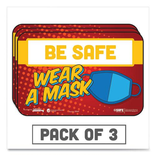 """BeSafe Messaging Education Wall Signs, 9 x 6,  """"Be Safe, Wear A Mask"""", 3/Pack. Picture 1"""