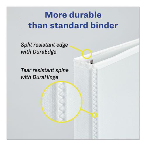 """Durable View Binder with DuraHinge and EZD Rings, 3 Rings, 4"""" Capacity, 11 x 8.5, White, (9801). Picture 4"""