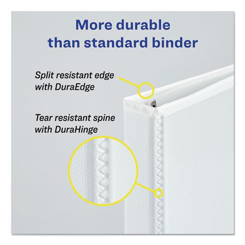 """Durable View Binder with DuraHinge and EZD Rings, 3 Rings, 1.5"""" Capacity, 11 x 8.5, White, (9401). Picture 3"""