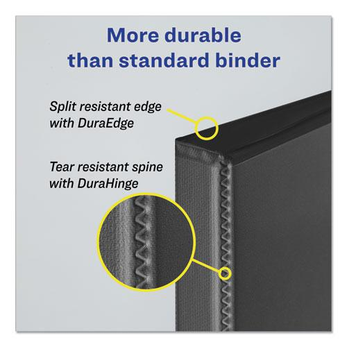 """Durable View Binder with DuraHinge and Slant Rings, 3 Rings, 1"""" Capacity, 11 x 8.5, Black. Picture 4"""