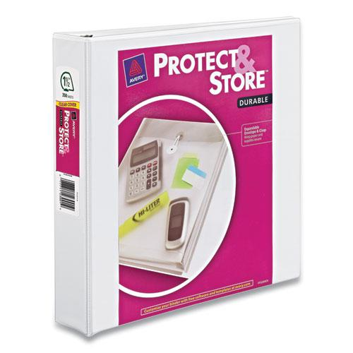 "Protect and Store Durable View Binder with Slant Rings, 3 Rings, 1.5"" Capacity, 11 x 8.5, White. Picture 1"