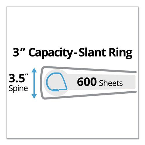 """Durable View Binder with DuraHinge and Slant Rings, 3 Rings, 3"""" Capacity, 11 x 8.5, White. Picture 6"""