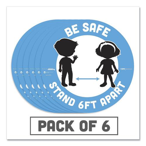 """BeSafe Messaging Education Floor Signs, Be Safe; Stand 6 Ft Apart, 12"""" dia, White/Blue, 6/Pack. Picture 1"""