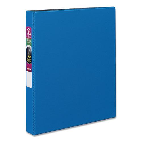 """Durable Non-View Binder with DuraHinge and Slant Rings, 3 Rings, 1"""" Capacity, 11 x 8.5, Blue. Picture 1"""