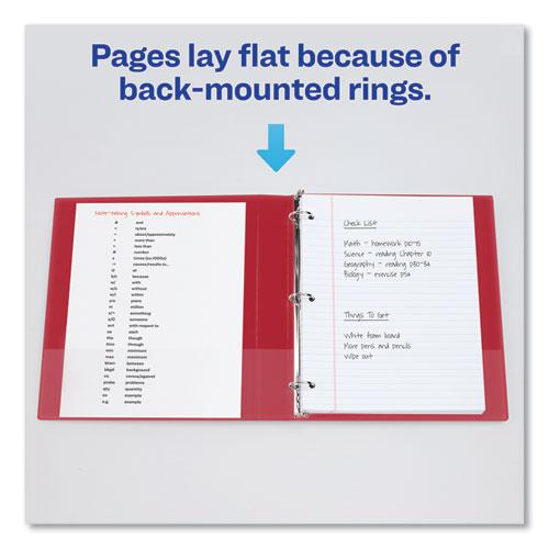 """Durable Non-View Binder with DuraHinge and Slant Rings, 3 Rings, 1.5"""" Capacity, 11 x 8.5, Red. Picture 3"""