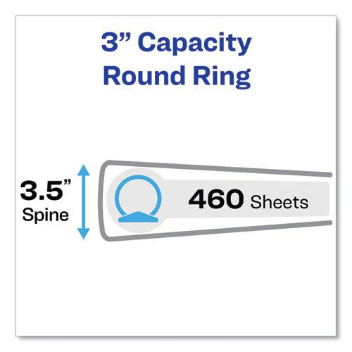"""Economy View Binder with Round Rings , 3 Rings, 3"""" Capacity, 11 x 8.5, White, (5741). Picture 2"""
