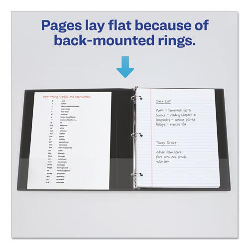"""Economy View Binder with Round Rings , 3 Rings, 0.5"""" Capacity, 11 x 8.5, Black, (5705). Picture 3"""