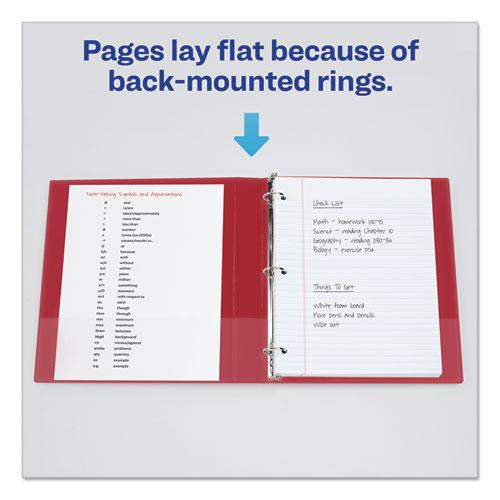 """Economy Non-View Binder with Round Rings, 3 Rings, 1"""" Capacity, 11 x 8.5, Red, (3310). Picture 7"""