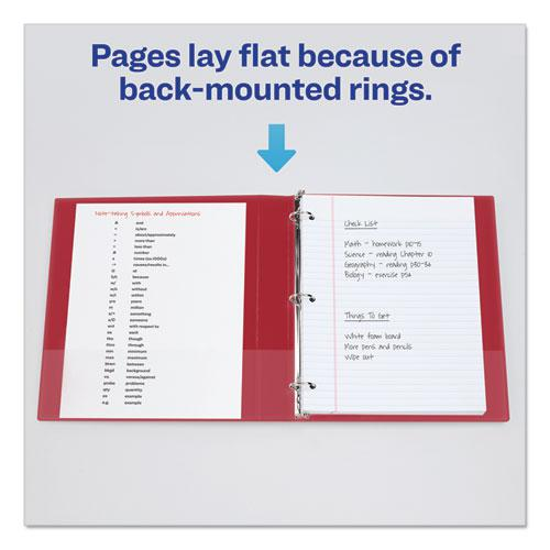 "Economy Non-View Binder with Round Rings, 3 Rings, 1.5"" Capacity, 11 x 8.5, Red, (3410). Picture 4"
