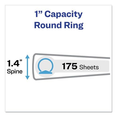 """Economy Non-View Binder with Round Rings, 3 Rings, 1"""" Capacity, 11 x 8.5, Red, (3310). Picture 5"""