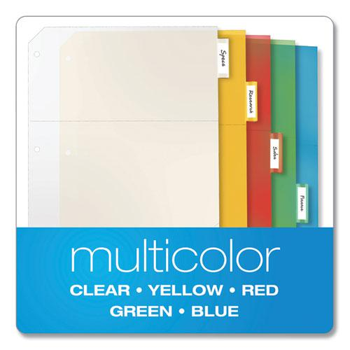 Poly Ring Binder Pockets, 11 x 8 1/2, Letter, Assorted Colors, 5/Pack. Picture 4