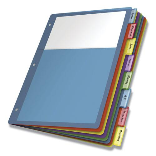 Poly 1-Pocket Index Dividers, 8-Tab, 11 x 8.5, Assorted, 4 Sets. Picture 1
