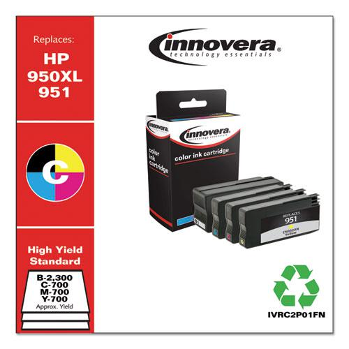 Remanufactured Black/Cyan/Magenta/Yellow High-Yield Ink, Replacement for HP 950XL/951 (C2P01FN), 300/700 Page-Yield. Picture 2
