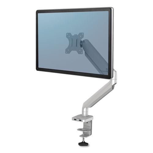 "Platinum Series Single Monitor Arm, For 27"" Monitors, 360 deg Rotation, 45 deg Tilt, 180 deg Pan, Silver, Supports 20 lb. Picture 1"