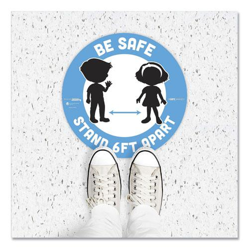 """BeSafe Messaging Education Floor Signs, Be Safe; Stand 6 Ft Apart, 12"""" dia, White/Blue, 6/Pack. Picture 6"""