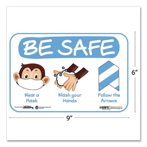 """BeSafe Messaging Education Wall Signs, 9 x 6,  """"Be Safe, Wear a Mask, Wash Your Hands, Follow the Arrows"""", Monkey, 3/Pack. Picture 3"""