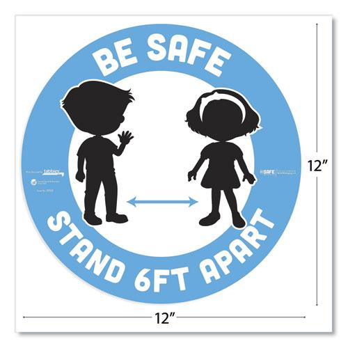"""BeSafe Messaging Education Floor Signs, Be Safe; Stand 6 Ft Apart, 12"""" dia, White/Blue, 6/Pack. Picture 4"""