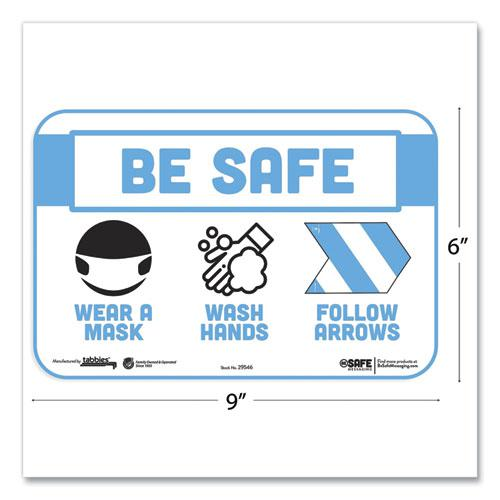 "BeSafe Messaging Education Wall Signs, 9 x 6,  ""Be Safe, Wear a Mask, Wash Your Hands, Follow the Arrows"", 3/Pack. Picture 2"