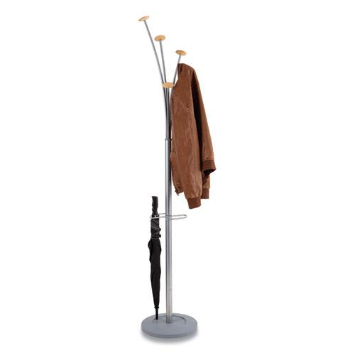 Festival Coat Stand with Umbrella Holder, Five Knobs, 14w x 14d x 73.67h, Silver Gray. Picture 5