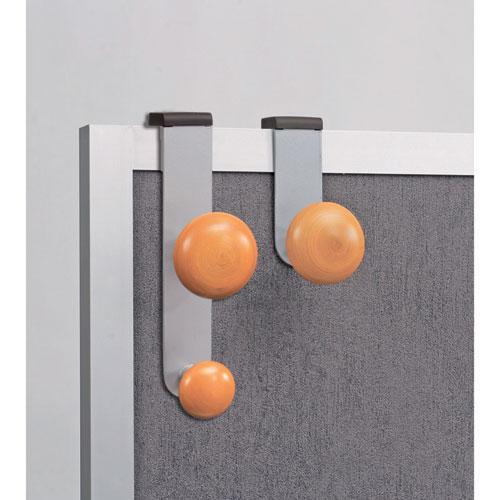 Cubicle Garment Peg, 2-Hook, 1 1/5 x 1 3/8 x 7 9/10, Metallic Gray. Picture 3