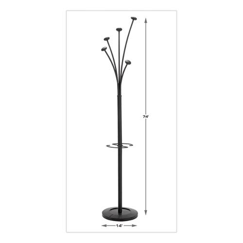 Festival Coat Stand with Umbrella Holder, 5 Knobs, 14w x 14d x 73.67h, Black. Picture 6