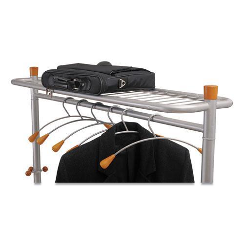 Garment Racks, Two-Sided, 2-Shelf Coat Rack, 6 Hanger/6 Hook, 44.8w x 21.67d x 70.8h, Silver Steel/Wood. Picture 8