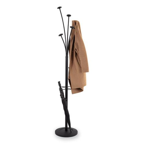 Festival Coat Stand with Umbrella Holder, 5 Knobs, 14w x 14d x 73.67h, Black. Picture 10