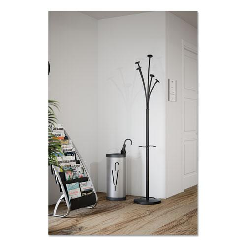Festival Coat Stand with Umbrella Holder, 5 Knobs, 14w x 14d x 73.67h, Black. Picture 9