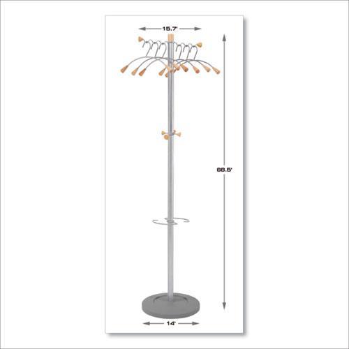 Wavy Coat Tree, Six Hangers/Two Knobs/Four Hooks, 18.88w x 14d x 68.5h, Silver Steel/Wood. Picture 6