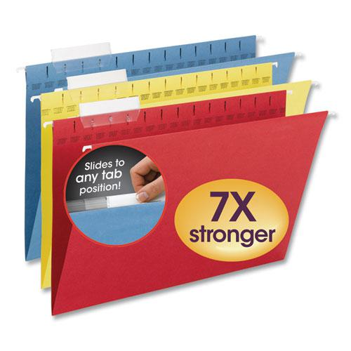 TUFF Hanging Folders with Easy Slide Tab, Legal Size, 1/3-Cut Tab, Assorted, 15/Box. Picture 1
