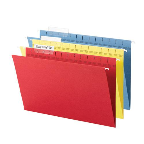 TUFF Hanging Folders with Easy Slide Tab, Legal Size, 1/3-Cut Tab, Assorted, 15/Box. Picture 3