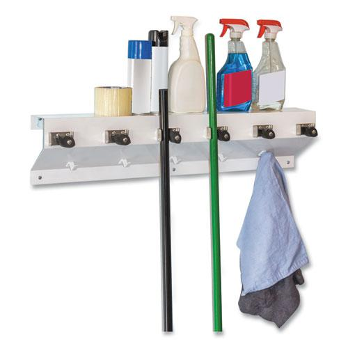 "The Clincher Mop and Broom Holder, 34""w x 5 1/2""d x 7 1/2""h, White Gloss, Each. Picture 1"