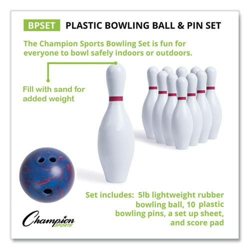 Bowling Set, Plastic/Rubber, White, 1 Ball/10 Pins/Set. Picture 11