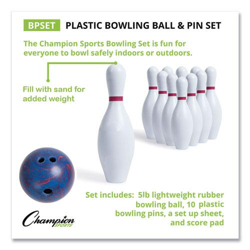 Bowling Set, Plastic/Rubber, White, 1 Ball/10 Pins/Set. Picture 8