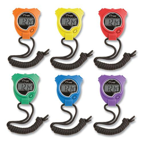 Water-Resistant Stopwatches, 1/100 Second, Assorted Colors, 6/Set. Picture 1