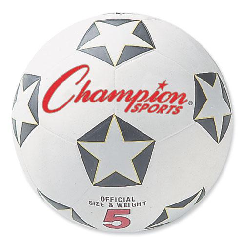 Rubber Sports Ball, For Soccer, No. 5, White/Black. Picture 1