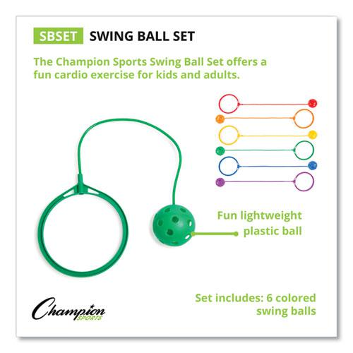 Swing Ball Set, Plastic, Assorted Colors, 6/Set. Picture 1