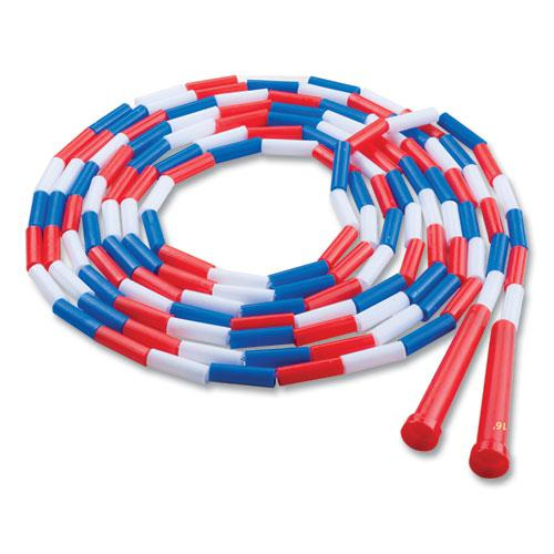 Segmented Plastic Jump Rope, 16ft, Red/Blue/White. Picture 1