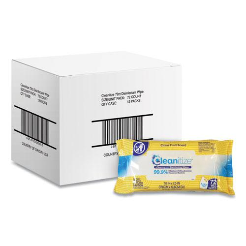 Disinfectant Surface Wipes, 7 x 7, Citrus Fruit Scent, White, 72/Pack, 12 Packs/Carton. Picture 1