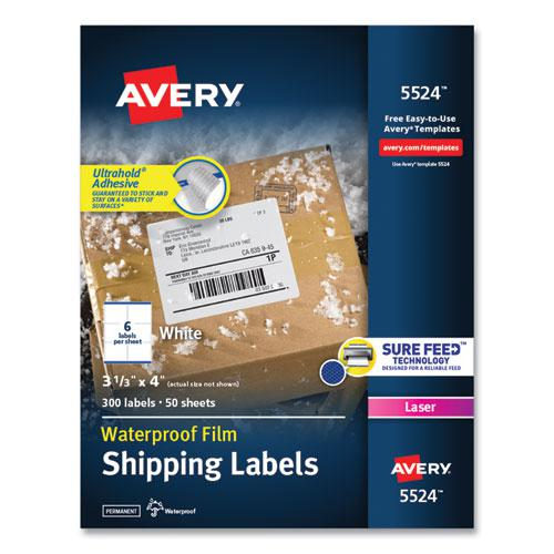 Waterproof Shipping Labels with TrueBlock and Sure Feed, Laser Printers, 3.33 x 4, White, 6/Sheet, 50 Sheets/Pack. Picture 1