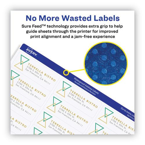 Waterproof Address Labels with TrueBlock and Sure Feed, Laser Printers, 1 x 2.63, White, 30/Sheet, 50 Sheets/Pack. Picture 2