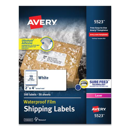 Waterproof Shipping Labels with TrueBlock and Sure Feed, Laser Printers, 2 x 4, White, 10/Sheet, 50 Sheets/Pack. Picture 1