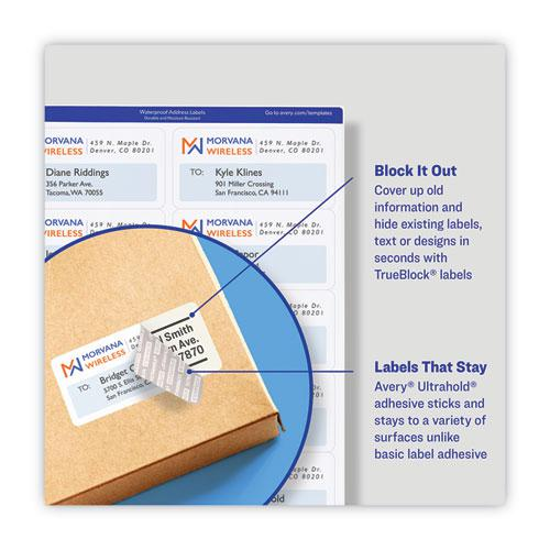 Waterproof Address Labels with TrueBlock and Sure Feed, Laser Printers, 1.33 x 4, White, 14/Sheet, 50 Sheets/Pack. Picture 7
