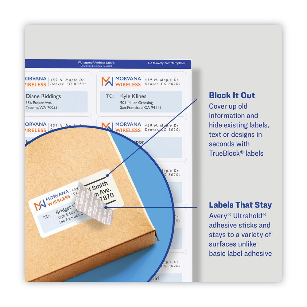 Waterproof Address Labels with TrueBlock and Sure Feed, Laser Printers, 1 x 2.63, White, 30/Sheet, 50 Sheets/Pack. Picture 7