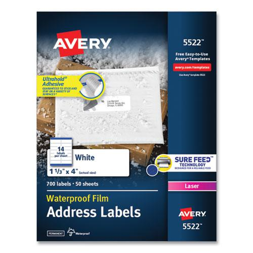 Waterproof Address Labels with TrueBlock and Sure Feed, Laser Printers, 1.33 x 4, White, 14/Sheet, 50 Sheets/Pack. Picture 1