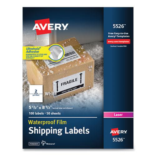 Waterproof Shipping Labels with TrueBlock Technology, Laser Printers, 5.5 x 8.5, White, 2/Sheet, 50 Sheets/Pack. Picture 1