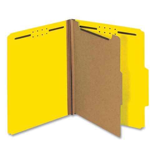 Bright Colored Pressboard Classification Folders, 1 Divider, Letter Size, Yellow, 10/Box. Picture 1